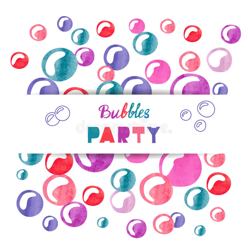 Bulles colorées d'aquarelle d'isolement sur le blanc illustration de vecteur