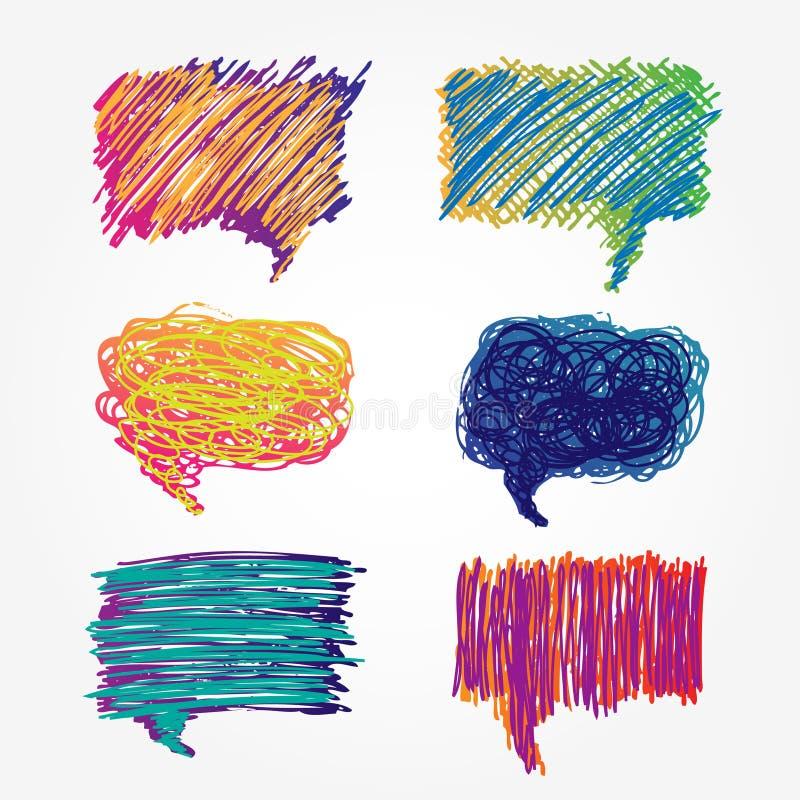 Bulles colorées de la parole réglées illustration stock