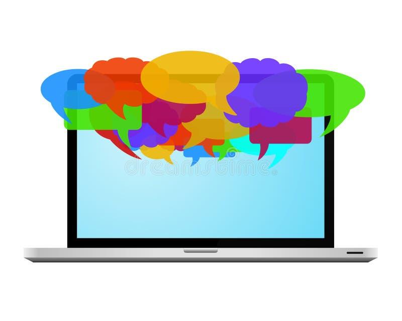 Bulles colorées de la parole sur l'ordinateur portatif illustration libre de droits