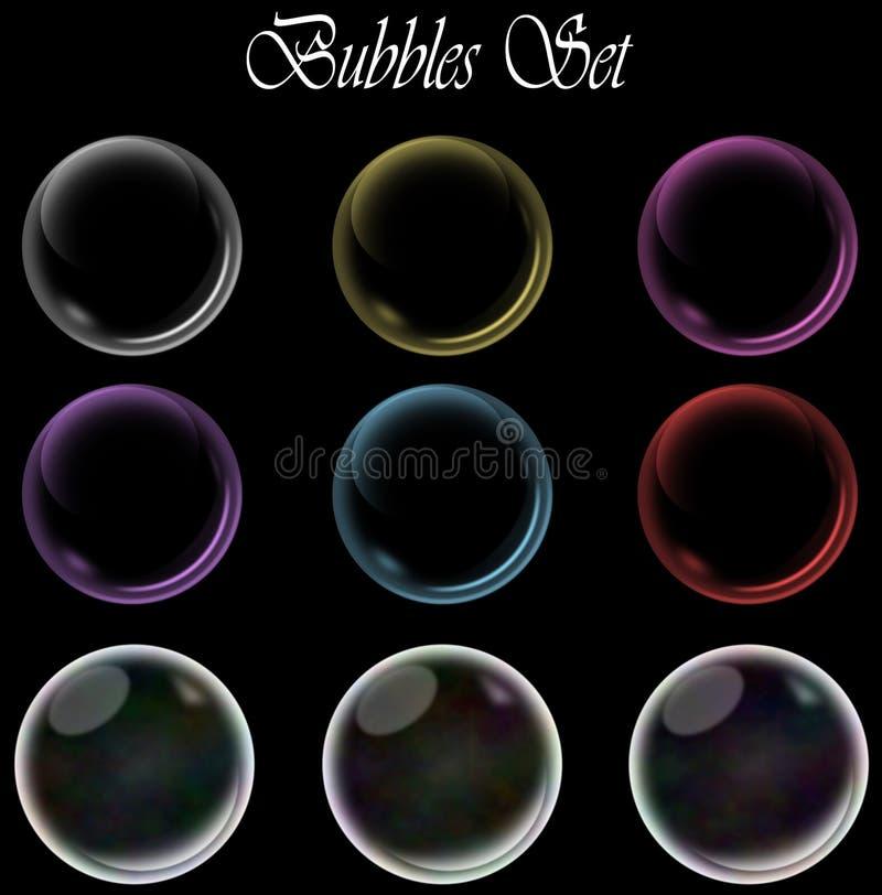 Bulles colorées réglées sur le fond noir d'isolement illustration de vecteur