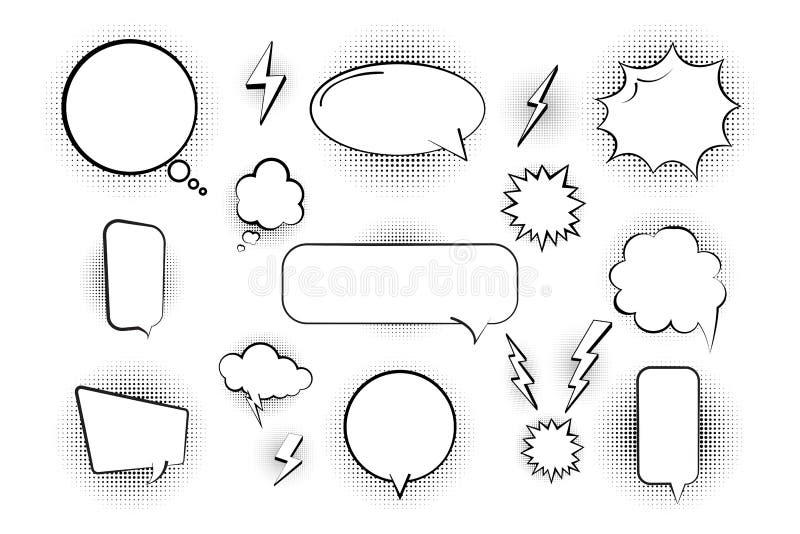 Bulles comiques dans le rétro style, éléments dans l'image tramée et ombre Bulles vides Illustration de vecteur illustration libre de droits