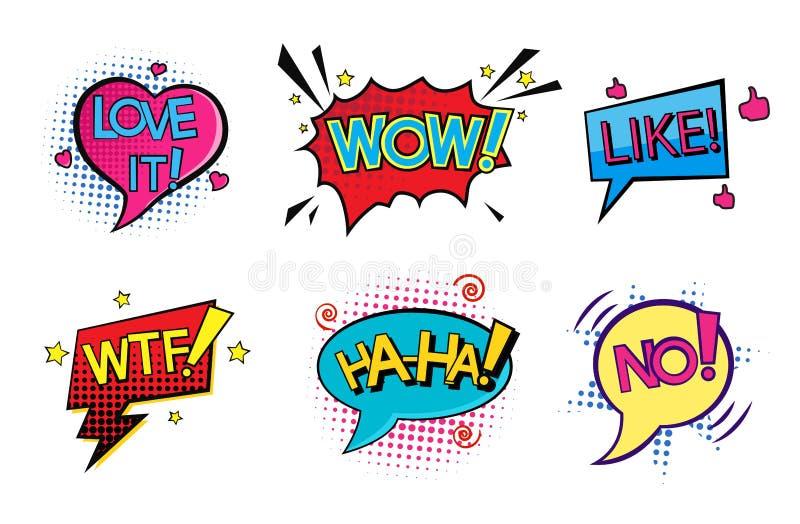 Bulles comiques de la parole d'art de bruit réglées illustration libre de droits