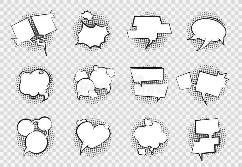 Bulles comiques de la parole Dessin de dialogue d'art d'éclaboussure de boom de ballon de causerie de bande dessinée rétro de bul illustration de vecteur