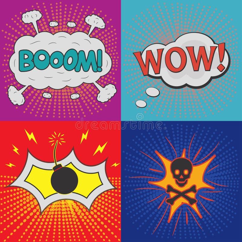 Bulles comiques de la parole Ensemble d'effets pour des bandes dessinées de conception illustration libre de droits