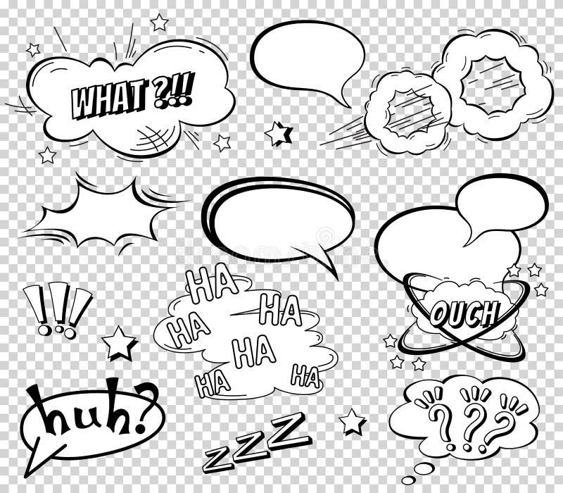 Bulles comiques de la parole réglées, exprimant la conception d'effet sonore pour le fond, bande Réservez le nuage de coup, le pr illustration de vecteur