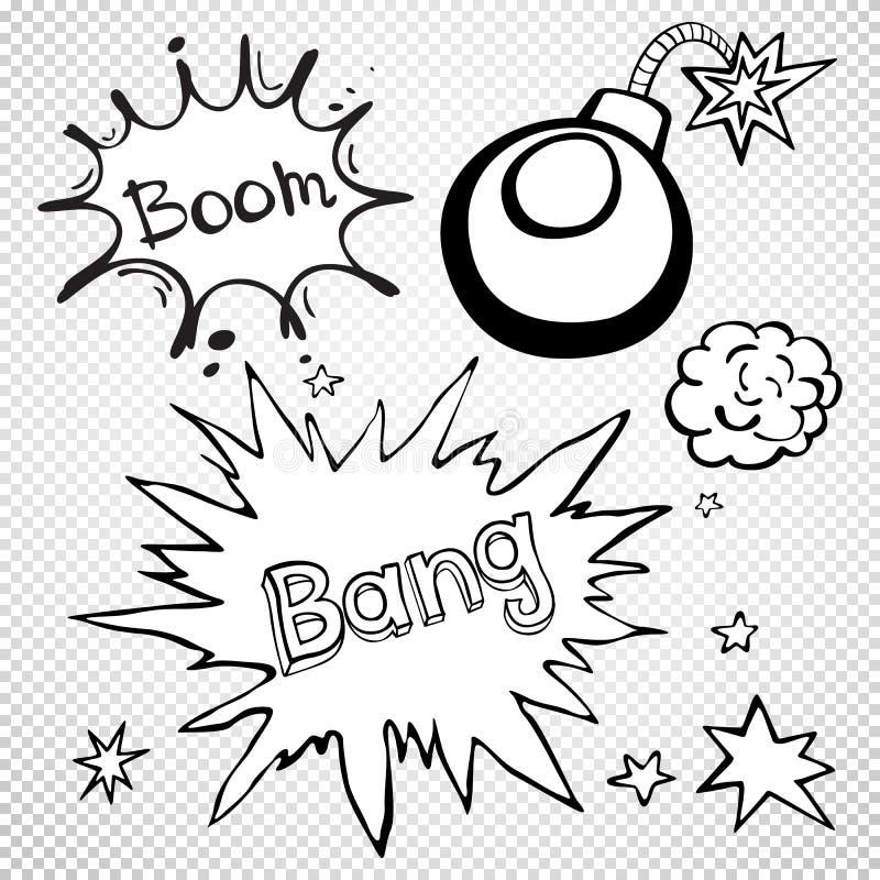 Bulles comiques VIDES de la parole réglées, ensemble comique de bruit de mots illustration de vecteur