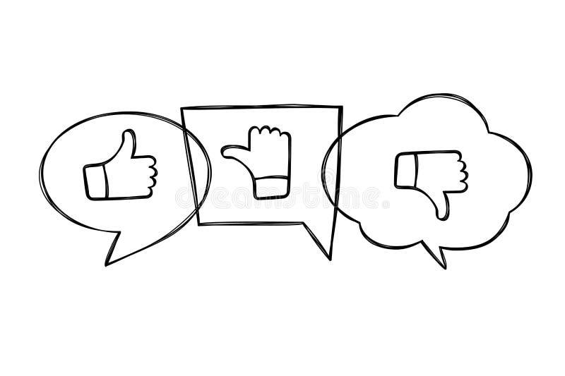 Bulles contournées tirées par la main de la parole avec des pouces en haut et en bas Comme, aversion et icônes irrésolues dans le illustration de vecteur