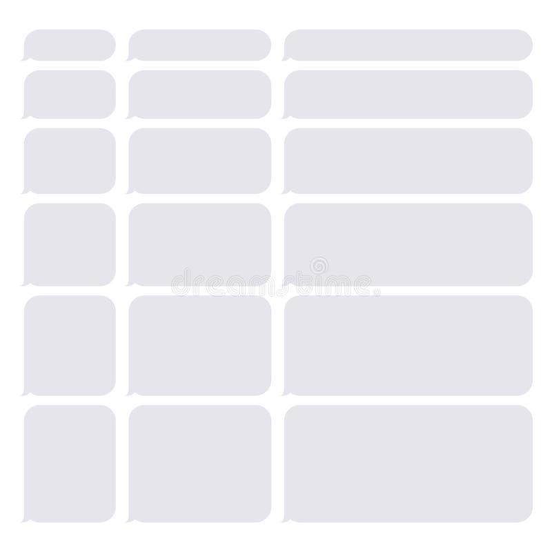 Bulles de blanc de causerie de Gray Smartphone SMS réglées Vecteur illustration stock