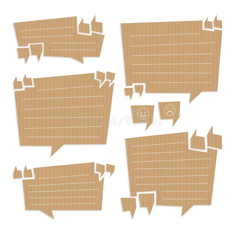 Bulles de citation coupées du carton illustration stock