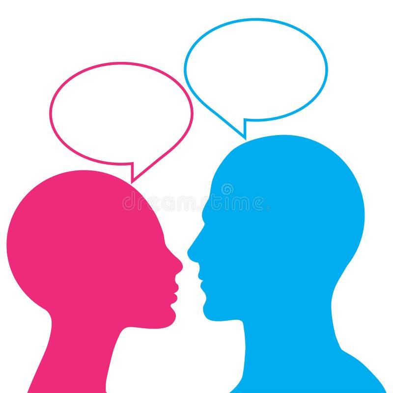 Bulles de conversation avec les têtes hommes-femmes illustration de vecteur