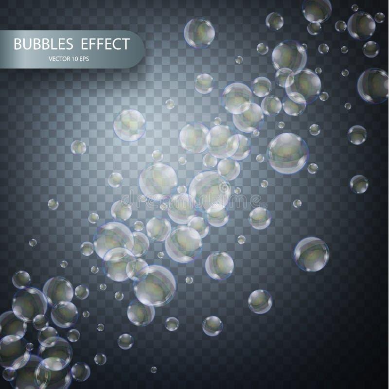 Bulles de l'eau sur un fond à carreaux transparent Calibre réaliste d'effet de vecteur Bulles de savon iridescentes illustration de vecteur