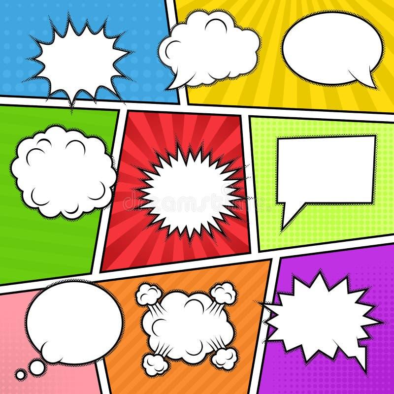 Bulles de la parole au fond coloré illustration de vecteur