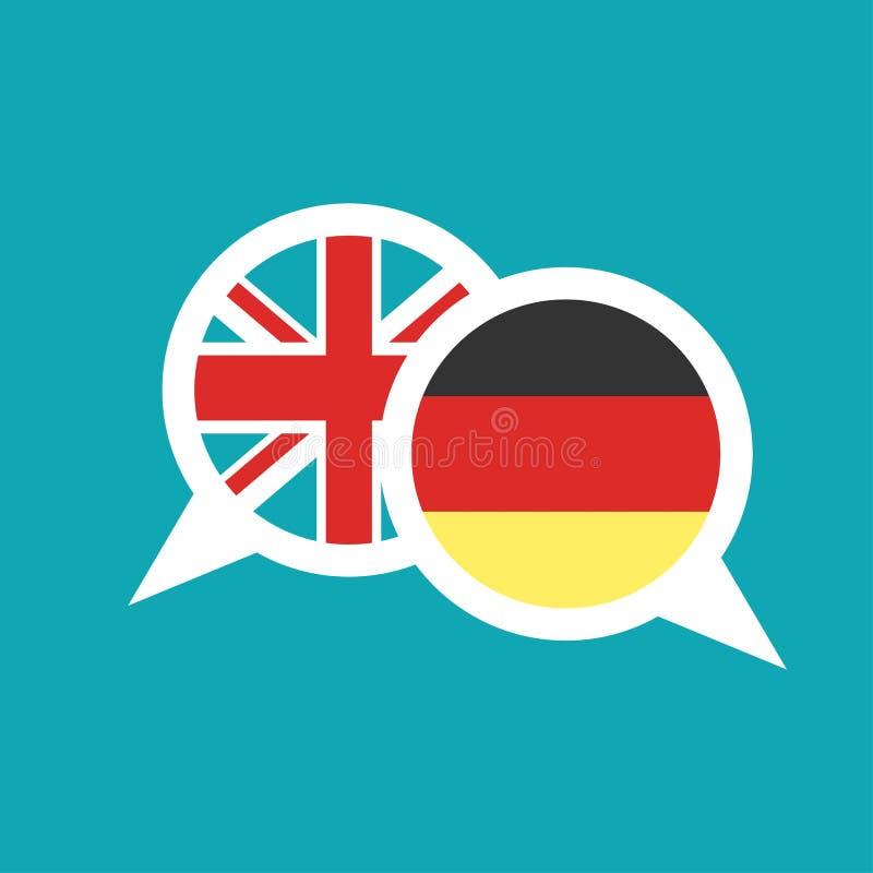Bulles de la parole de causerie avec les drapeaux anglais et allemands d'isolement sur le fond bleu illustration stock