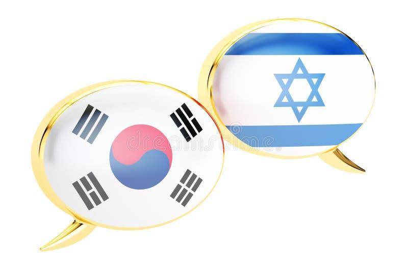 Bulles de la parole, concept Coréen-israélien de traduction rendu 3d illustration stock