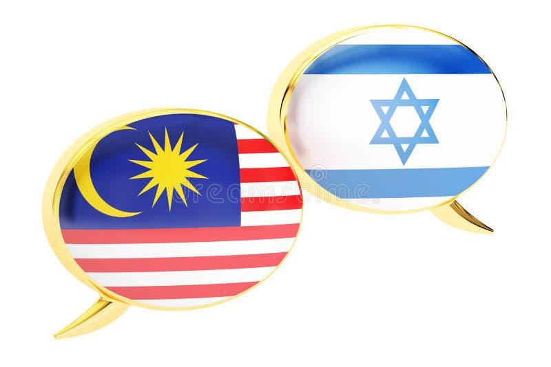 Bulles de la parole, concept de conversation d'Israélien-Malaysian rende 3D illustration de vecteur