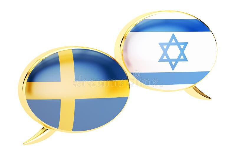 Bulles de la parole, concept de conversation d'Israélien-Suisse rendu 3d illustration libre de droits