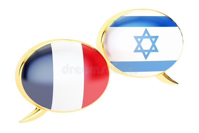 Bulles de la parole, concept Français-israélien de conversation renderin 3D illustration libre de droits