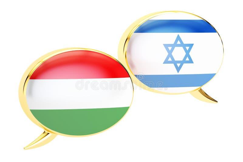 Bulles de la parole, concept Hongrois-israélien de conversation rende 3D illustration libre de droits