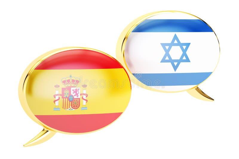 Bulles de la parole, concept Israélien-espagnol de traduction renderin 3D illustration stock