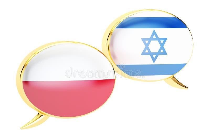 Bulles de la parole, concept Poli-israélien de conversation renderin 3D illustration libre de droits
