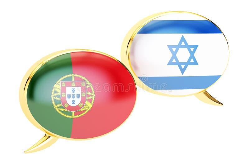 Bulles de la parole, concept Portugais-israélien de conversation 3d les déchirent illustration de vecteur