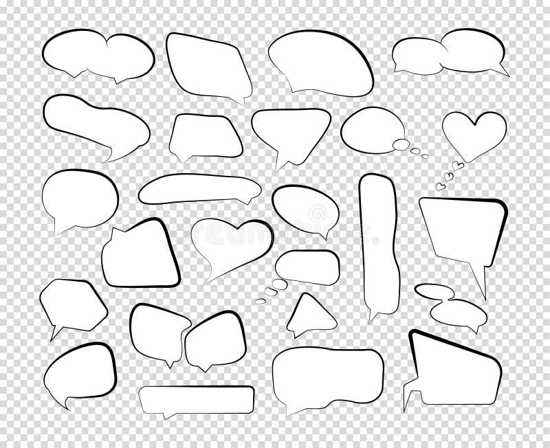 Bulles de la parole d'ensemble positionnement Ligne comique rétros formes de cri de nuage d'entretien Vecteur illustration stock