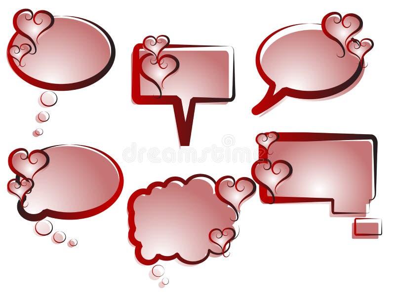 Bulles de la parole de coeur illustration de vecteur