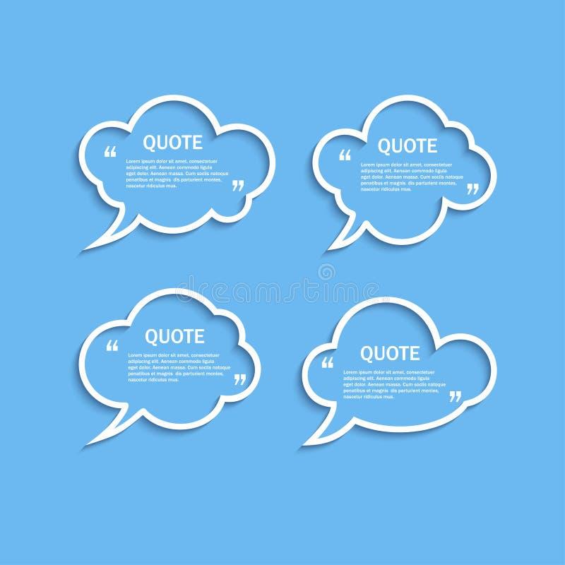 Bulles de la parole de nuage d'ensemble de citation réglées illustration stock