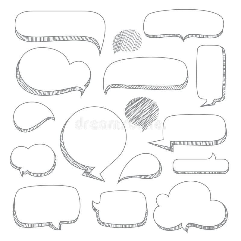 Bulles de la parole Ensemble de style tiré par la main de griffonnage illustration stock