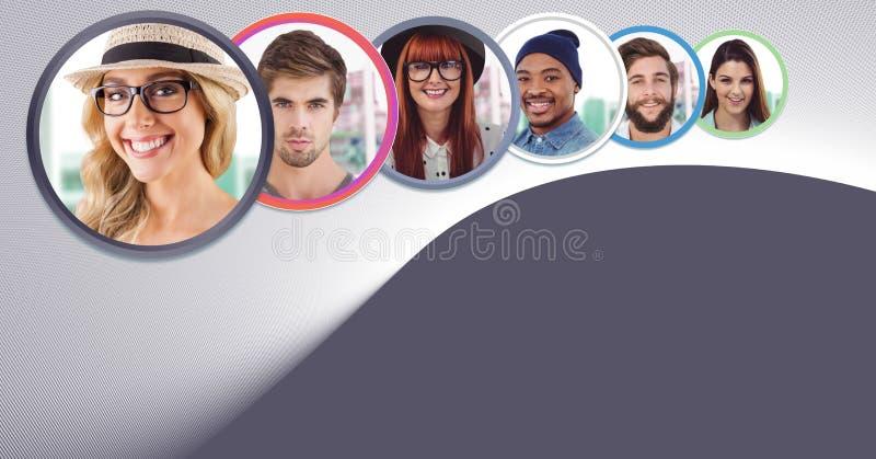 bulles de personnes de profil images libres de droits