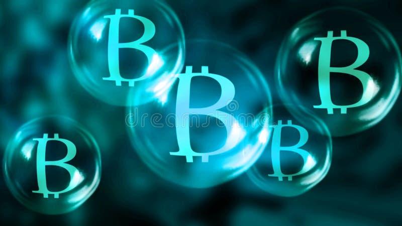 Bulles de savon de Bitcoin illustration stock