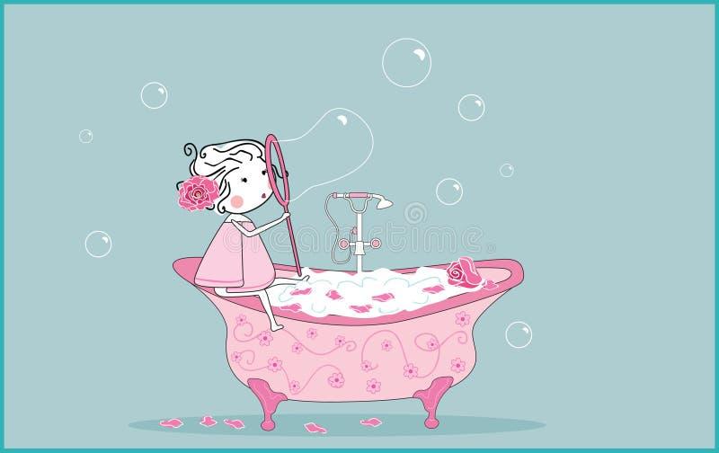 Bulles de savon de soufflement illustration stock