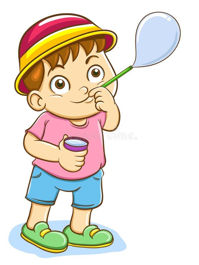 Bulles de savon de soufflement de garçon illustration de vecteur