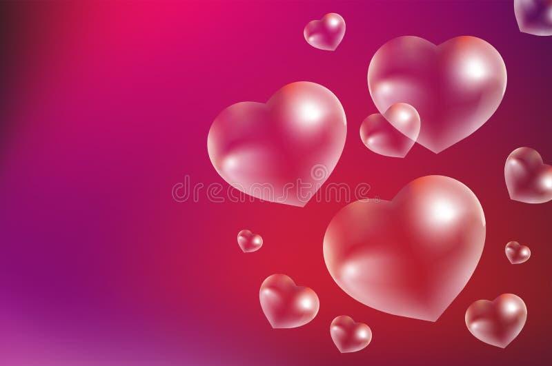 Bulles de savon réalistes en forme de coeur Gouttes de l'eau dans une forme de coeur Jour de valentines, amour, concept roman Vec illustration libre de droits