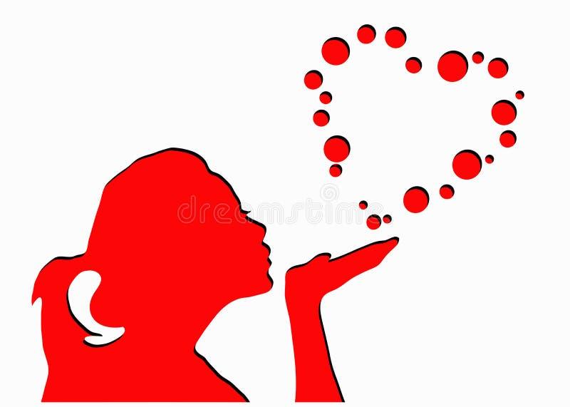 Bulles de soufflement de forme de coeur de fille illustration stock
