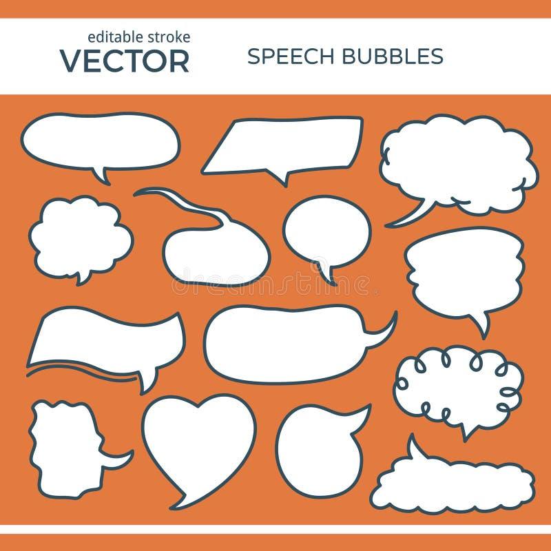 Bulles esquissées de la parole avec la course Editable illustration de vecteur