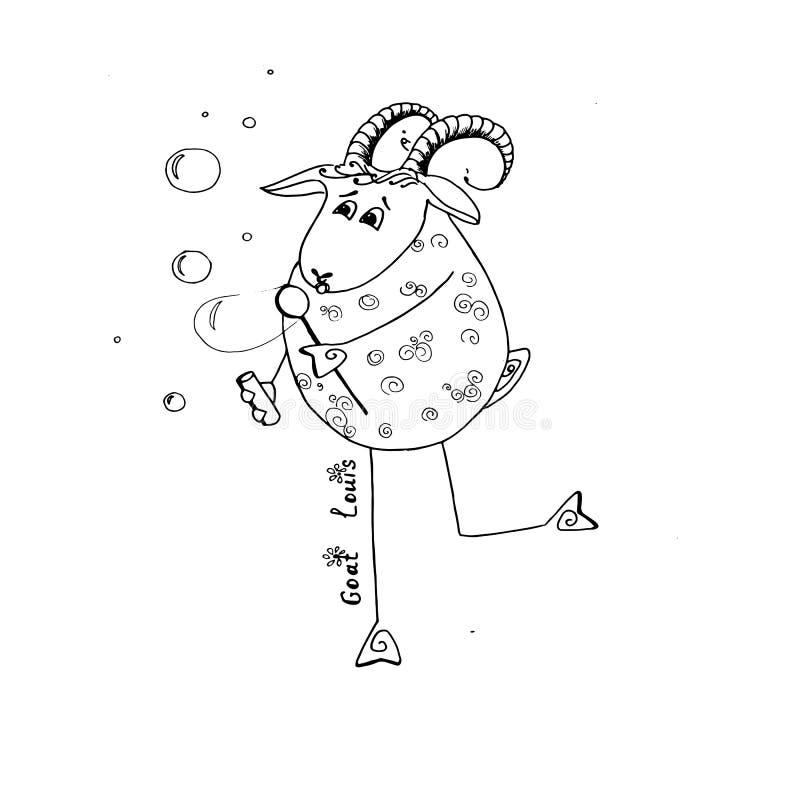 Bulles heureuses de coup de Louis de chèvre illustration de vecteur