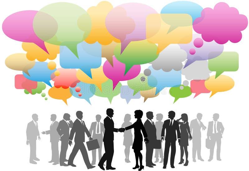 Bulles sociales de la parole de réseau de medias d'affaires illustration stock