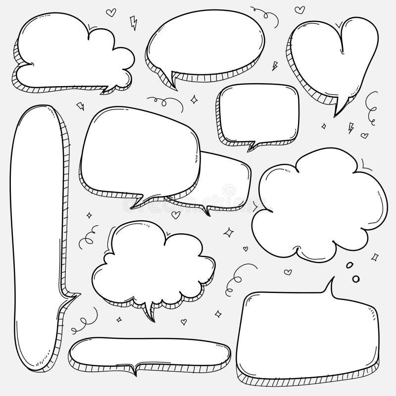Bulles tirées par la main réglées Le ballon comique de style de griffonnage, nuage a formé des éléments de conception illustration stock