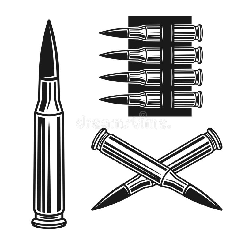 Free Bullet And Bandolier Set Of Vector Objects Royalty Free Stock Photos - 179333348