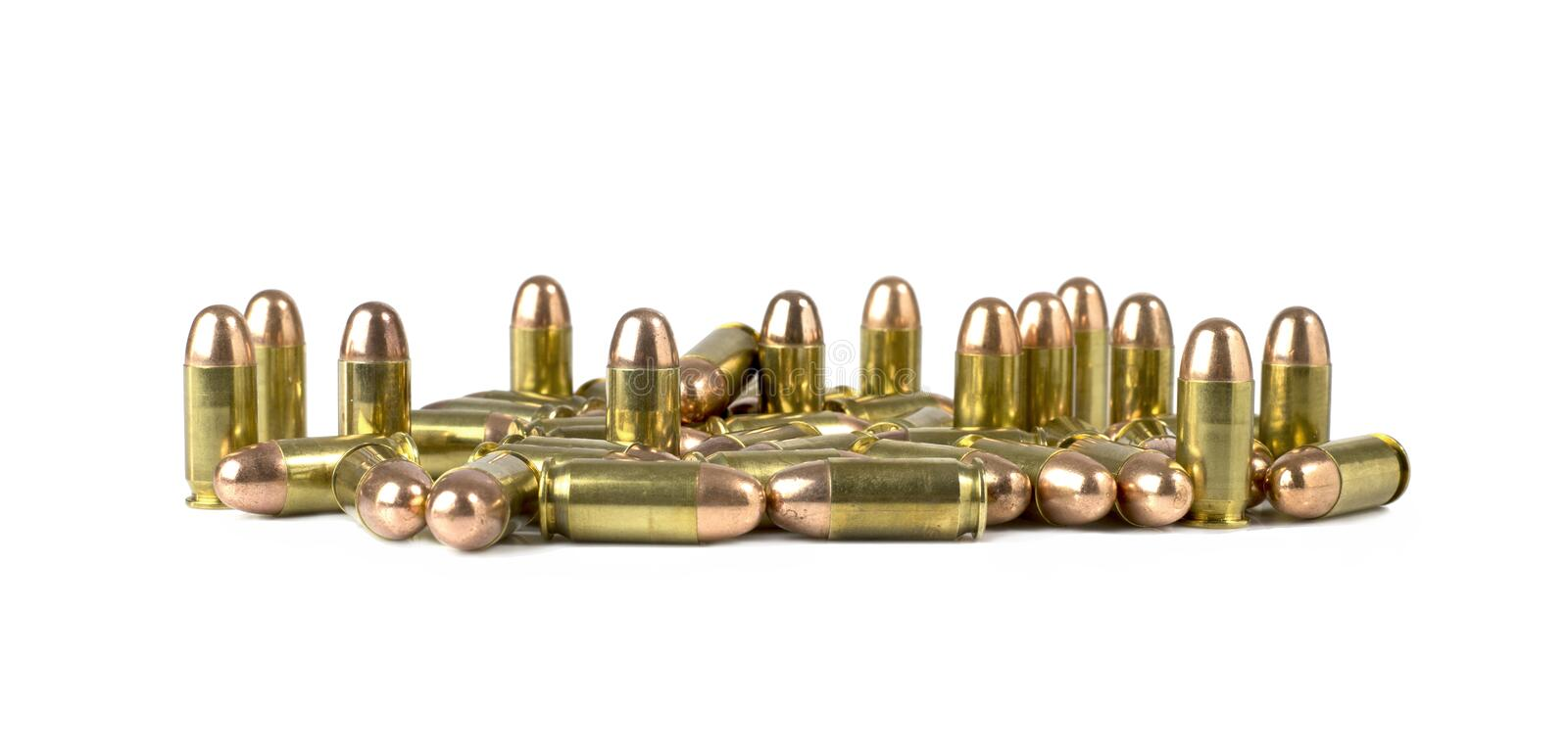 Bullet .45 auto on white background stock images