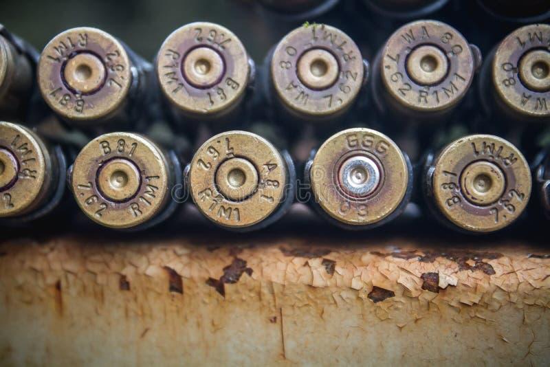 Bullet belt back Trigger Point. Caliber stock images