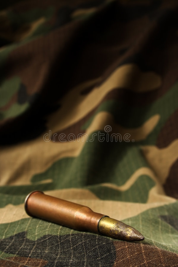 Download Bullet On Camouflage Backgroud Stock Photo - Image of fire, fabric: 3281650