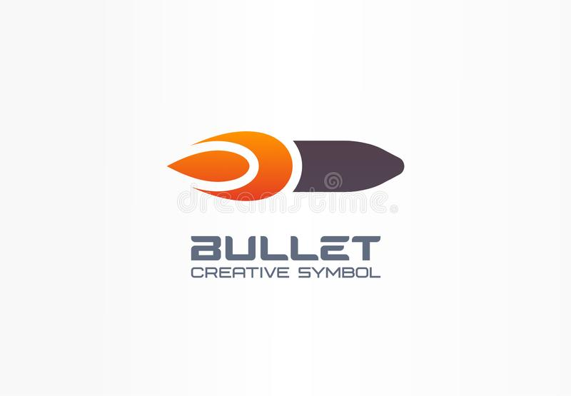 Bullet creative symbol concept. Fire power flame shape in abstract business military logo. Gunshot target, gun flash royalty free illustration