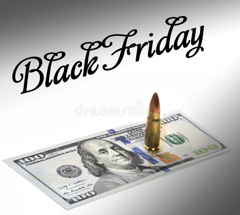 Bullet on the dollar bill. Benjamin Franklin. stock image