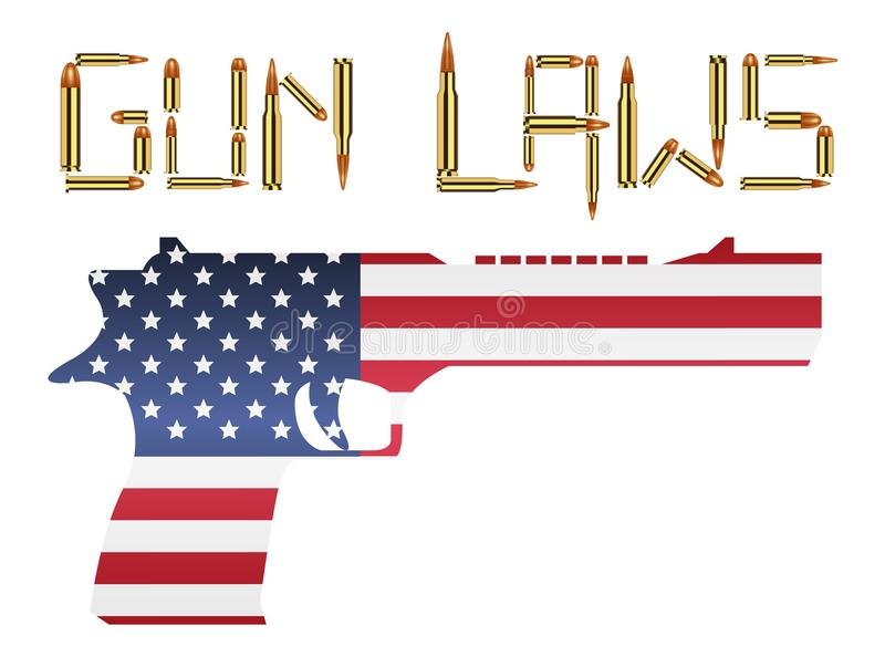 Bullet gun laws with america flag hand gun royalty free illustration