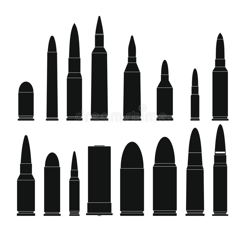 Bullet gun military icons set, simple style vector illustration