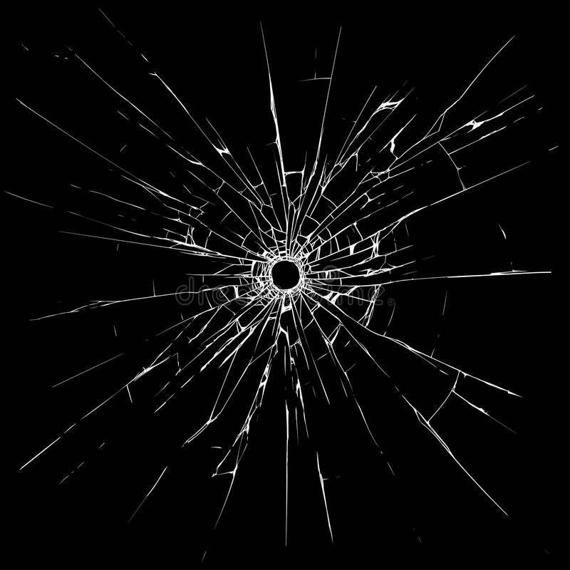Bullet hole in glass royalty free illustration