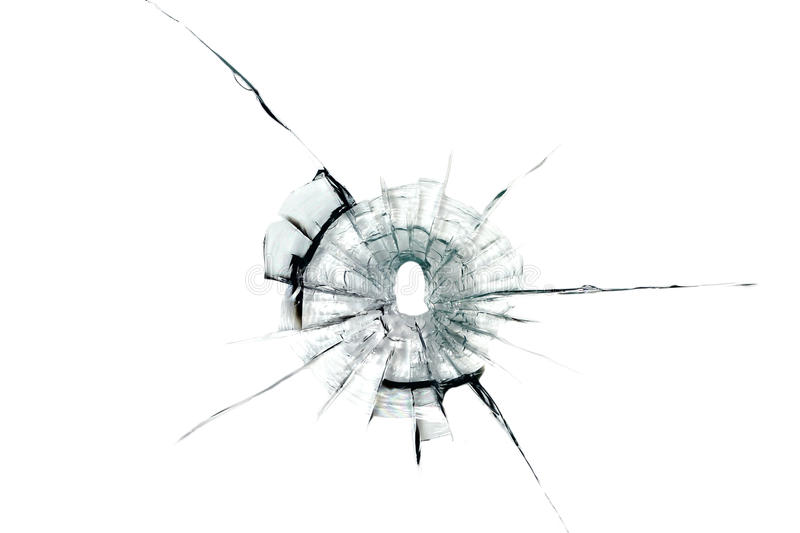 Bullet hole in glass stock image