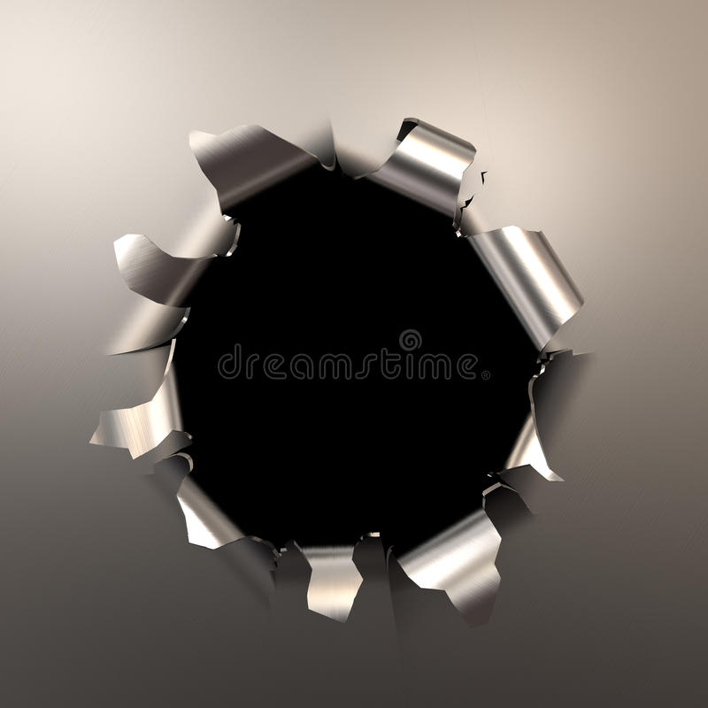 Free Bullet Hole In The Metal Stock Photography - 43234602